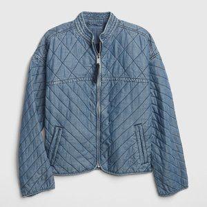GAP | Quilted Denim Dolman Zip-Up Jacket